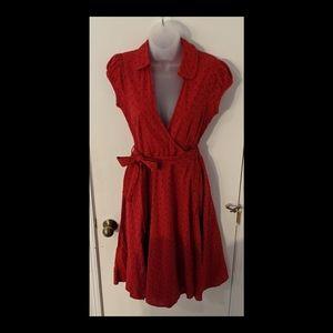 F&F red eyelet Rockabilly Pinup wrap day dress 10